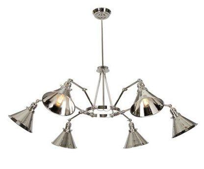 żyrandol do kuchni nowoczesnej - srebrny z kloszami