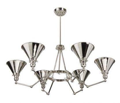 żyrandol nowoczesny ze stalowymi koszami - srebrny