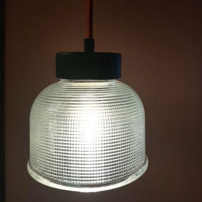 szklana lampa wisząca retro