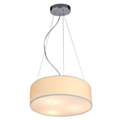beżowa lampa wisząca z abażurem do sypialni