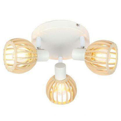 biała lampa sufitowa drewniane klosze