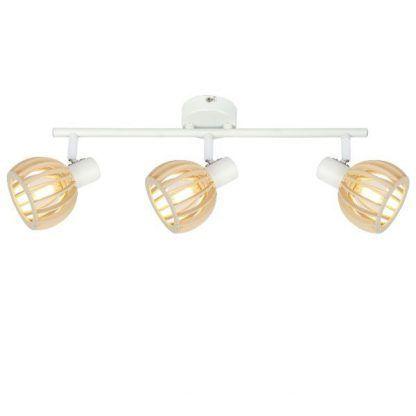 biała lampa sufitowa drewniane klosze na listwie