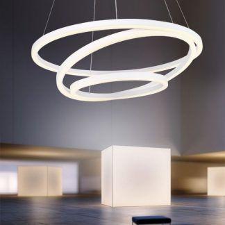 biała lampa wisząca led ring