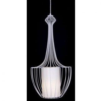 biała lampa z abażurem, druciany klosz