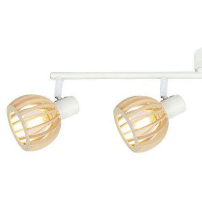 biała lampa z drewnianymi ażurowymi kloszami