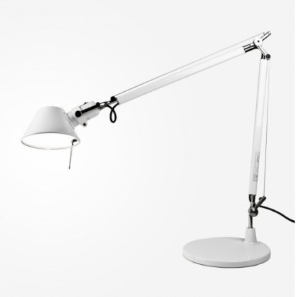 biała regulowana lampa biurkowa