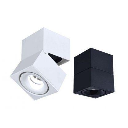 białe i czarne spoty sufitowe nowoczesne