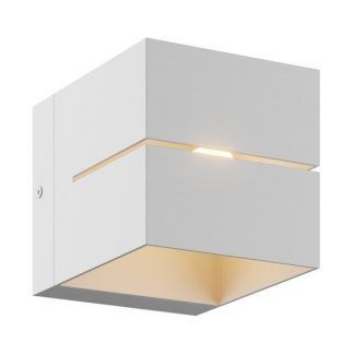 biały kinkiet metalowy kwadrat