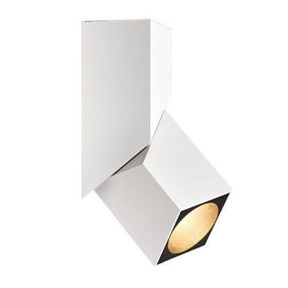 biały reflektor sufitowy z regulacją kanciasty