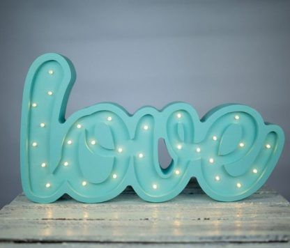 błękitna nazwa napis LOVE