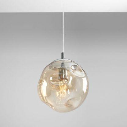 bursztynowa lampa wisząca ze szkła kula