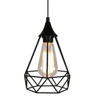 czarna druciana lampa wisząca do salonu skandynawska