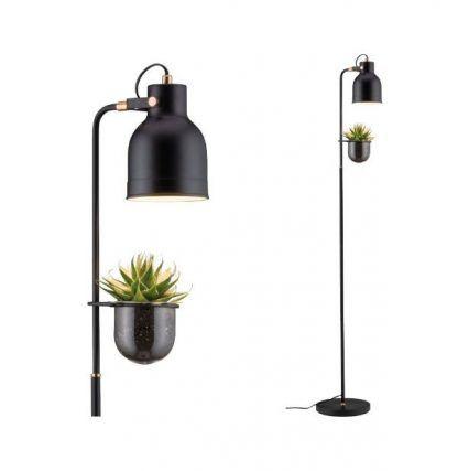 czarna lampa stojąca z oprawką na roślinę