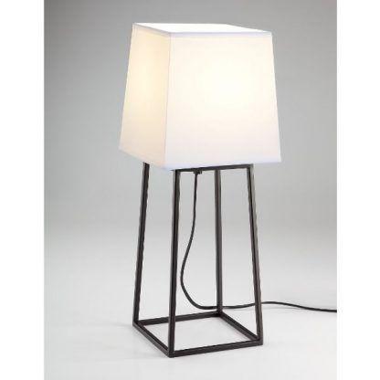 czarna lampa stołowa z białym abażurem geometryczna