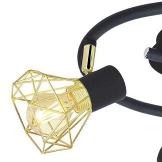czarna lampa sufitowa ze złotymi kloszami