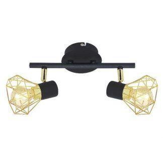 czarna lampa sufitowa złote klosze