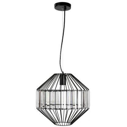 czarna lampa wisząca metal i szkło nowoczesna