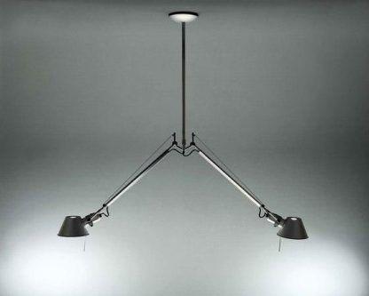 czarna lampa wisząca na dwa klosze metalowa