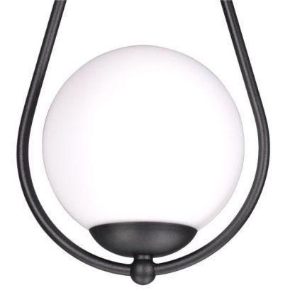 czarna lampa wisząca ze szklaną kulą nowoczesna