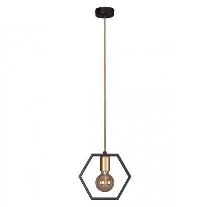 czarna lampa wisząca złoty przewód