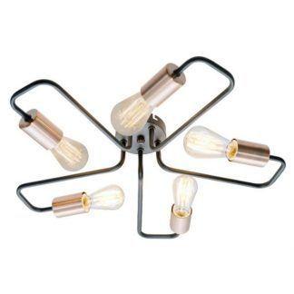 czarno-złota lampa sufitowa metalowa