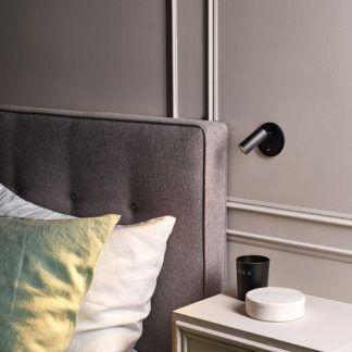 czarny kinkiet do czytania reflektor sypialnia