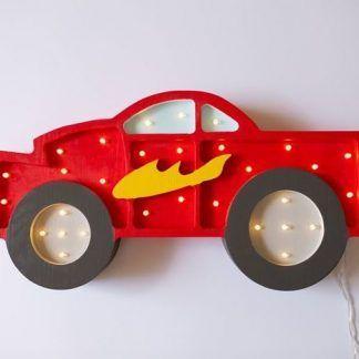 czerwona wyścigówka lampka dla chłopca