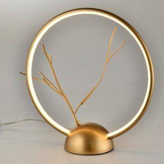 designerska lampa stołowa led złota gałązka