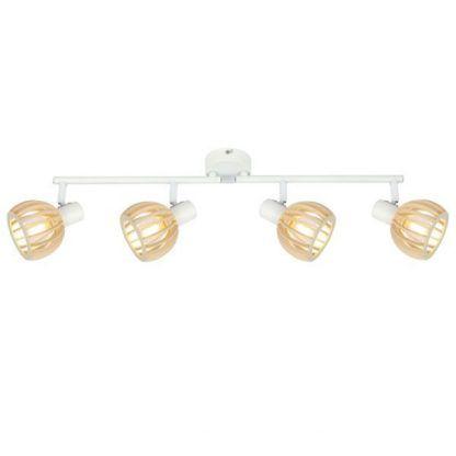 długa lampa sufitowa biała z drewnianymi kloszami