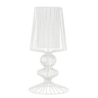 druciana lampa stołowa biała