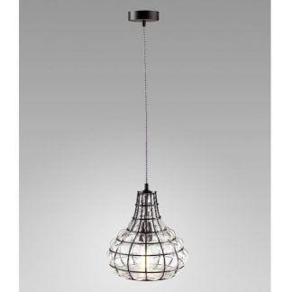 druciana lampa wisząca retro szklane elementy