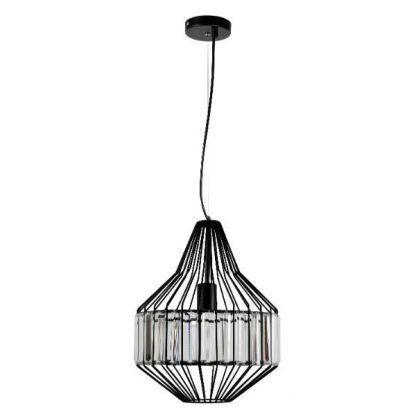 druciana lampa wisząca z kryształkami