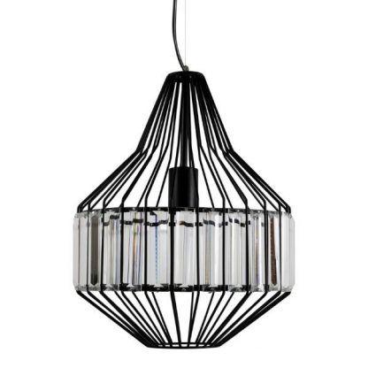druciana lampa wisząca ze szklanymi płytkami