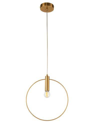 duża lampa wisząca obręcz złota