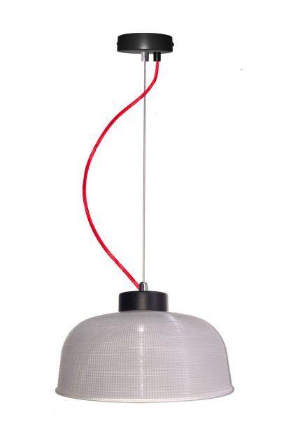 duża lampa wisząca szklany klosz czerwony przewód
