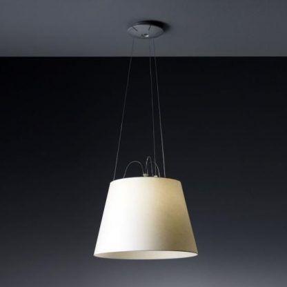 elegancka lampa wisząca z jasnym abażurem