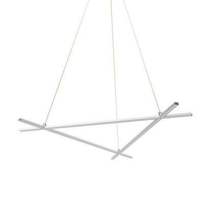 geometryczna biała lampa wisząca led do salonu