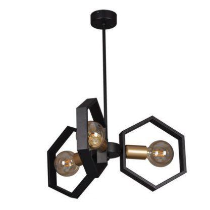 geometryczna czarna lampa wisząca
