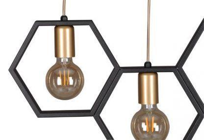 geometryczna lampa wisząca czerń złoto