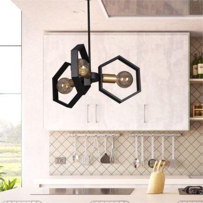 industrialna lampa wisząca aranżacja kuchnia
