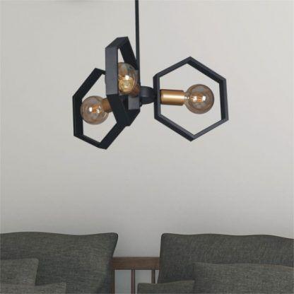 industrialna lampa wisząca do salonu aranżacja