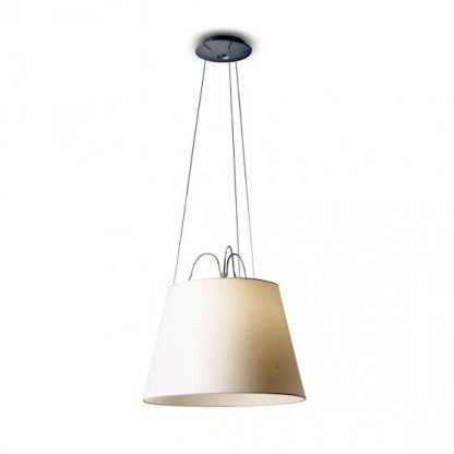 kremowa lampa wisząca z abażurem