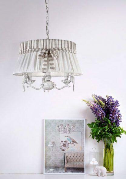 kremowa lampa wisząca z abażurem shabby chic