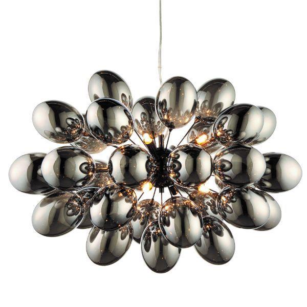 lampy wiszące szklane kule z srebrnym