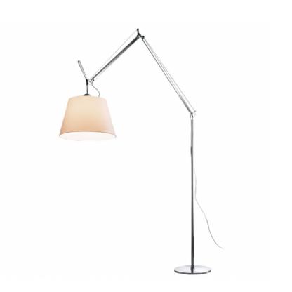 srebrna lampa z białym kloszem, regulowana podstawa