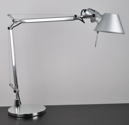 srebrna lampa stołowa z regulacją do gabinetu