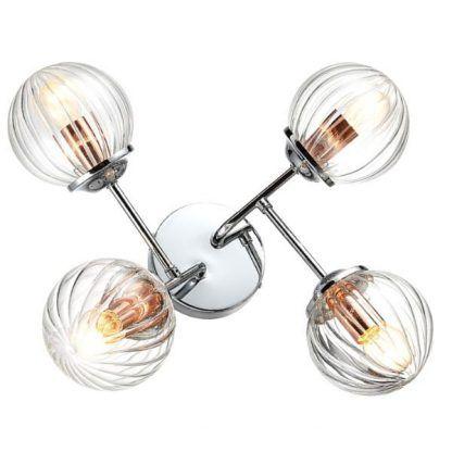 lampa sufitowa kinkiet chrom i szklane klosze