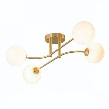 lampa sufitowa złota mleczne klosze nowoczesna