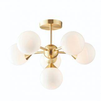 lampa sufitowa złota ze szklanymi kloszami