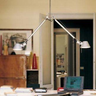 lampa wisząca na dwa klosze z regulacją aranżacja